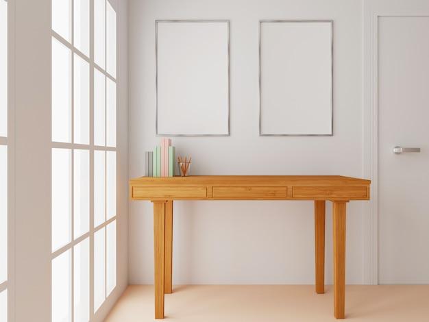 Interno del soggiorno vicino alla finestra con tavolo in legno e poster bianco vuoto