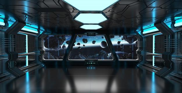 Interno dell'astronave con la vista sulla rappresentazione del pianeta terra 3d