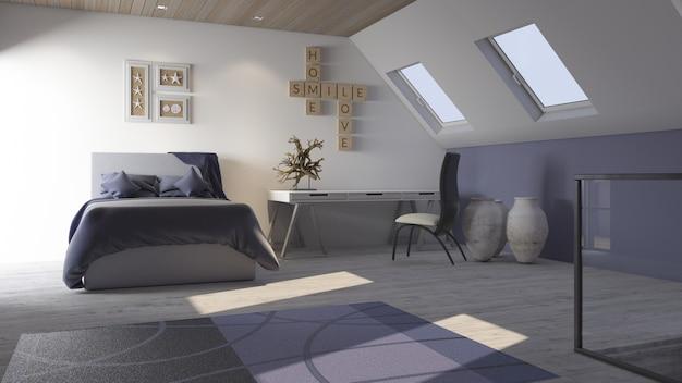 Interno della camera da letto contemporanea 3d