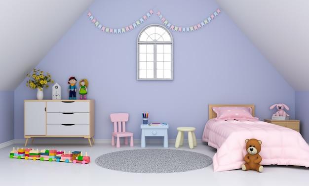 Interno della camera dei bambini viola sotto il tetto