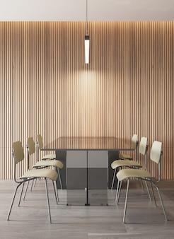 Interno della sala da pranzo in stile moderno con motivo a pannelli in legno