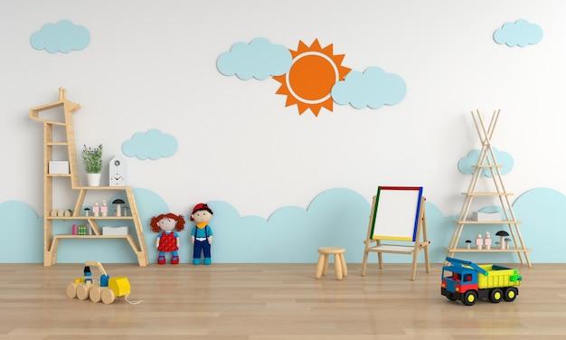 Interno della stanza del bambino per il modello, rappresentazione 3d
