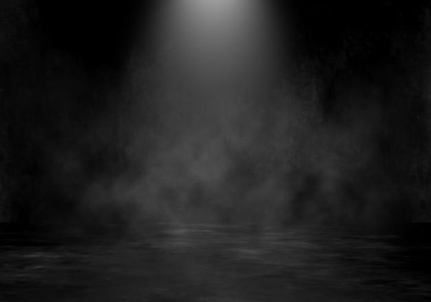 Interno della stanza di lerciume 3d con il riflettore e il fondo fumoso dell'atmosfera