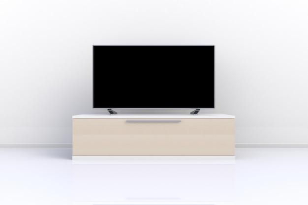 Interno della stanza vuota con tv, soggiorno tv led sul muro bianco con tavolo in legno