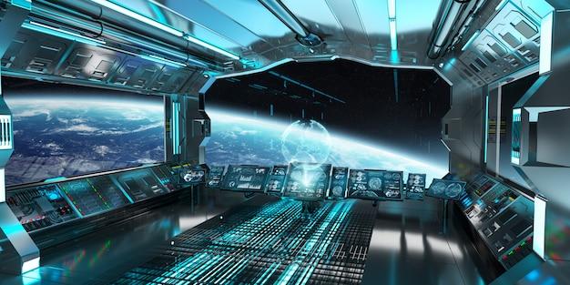 Interno di astronave con vista sulla rappresentazione del pianeta terra 3d