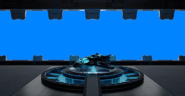 Interno di astronave della striscia di llanding isolato sulla rappresentazione blu 3d
