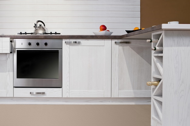 Interno di cucina moderna con decorazioni bianche