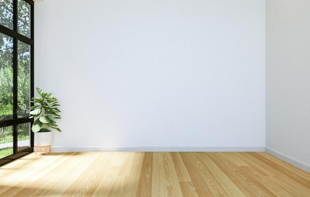 Interno di hall open space vuoto moderno con la grande finestra e pavimento di legno duro, rappresentazione 3d