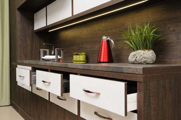 Interno di lusso moderno beige cucina