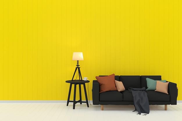 Interno di modello di soggiorno parete in legno camera pastello