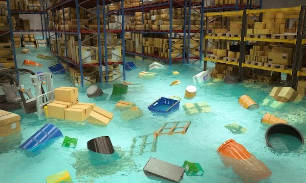 Interno di un magazzino allagato con merci galleggianti in acqua