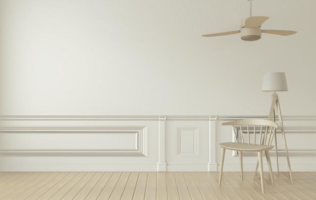Interno e decorazione della stanza bianca. rendering 3d