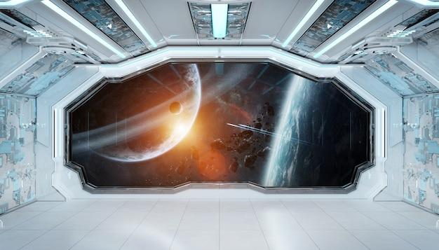 Interno futuristico dell'astronave blu bianca con la vista della finestra su spazio e sui pianeti