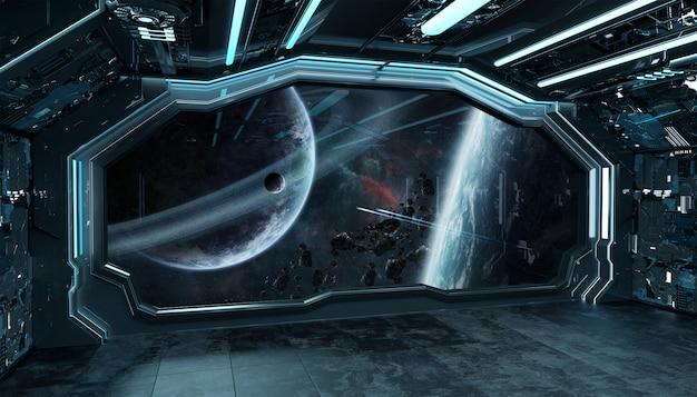 Interno futuristico dell'astronave blu scuro con la vista della finestra su spazio e sui pianeti