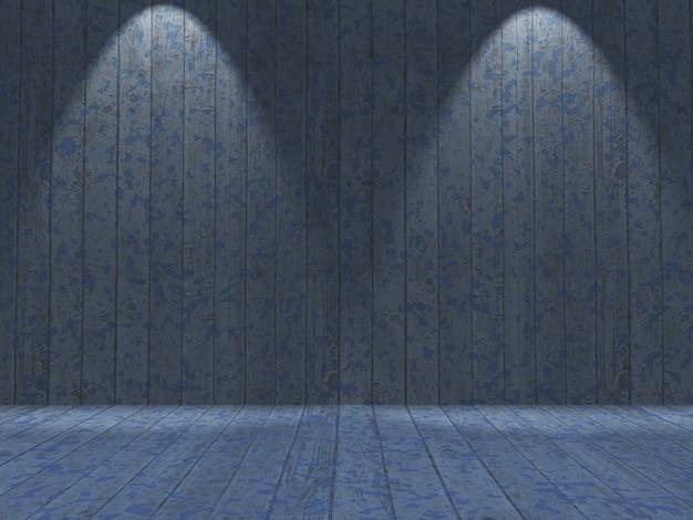 Interno grunge 3d con pareti e pavimenti in legno dipinto blu