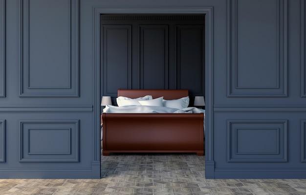 Interno lussuoso della camera da letto nella progettazione classica moderna, rappresentazione 3d