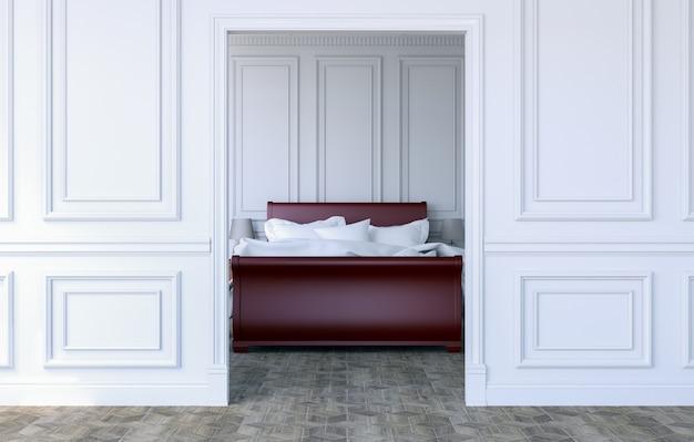 Interno lussuoso della camera da letto nello stile classico moderno, rappresentazione 3d