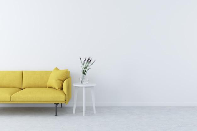 Interno moderno bianco con divano moderno giallo e vaso sul tavolino bianco