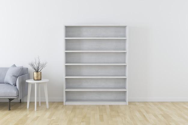 Interno moderno bianco con divano moderno grigio e vaso sul tavolino bianco sul pavimento in legno