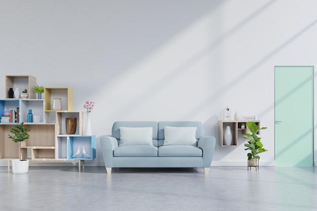 Interno moderno del salone con il sofà sulla parete bianca