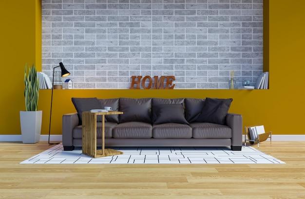 Interno moderno del salone contemporaneo con parete gialla e copia spazio sulla parete