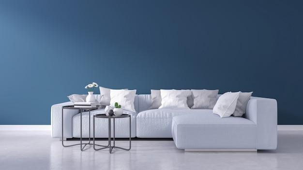 Interno moderno del salone, parete blu e pavimento in legno, concetto della casa di estate della primavera