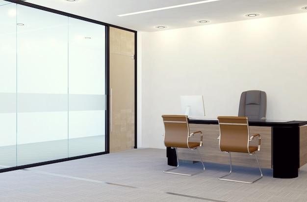 Interno moderno della stanza dell'ufficio del responsabile, rappresentazione 3d