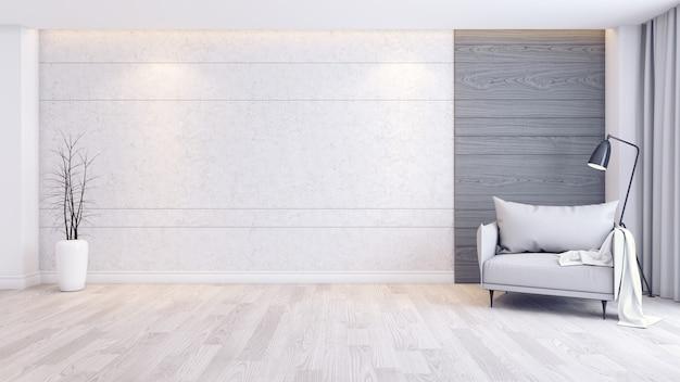 Interno moderno e minimalista degli interni del salotto, poltrona grigia sul pavimento di legno e muro di cemento
