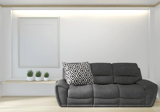 Interno neutro con poltrona in velluto nero e cornice su sfondo stanza vuota.