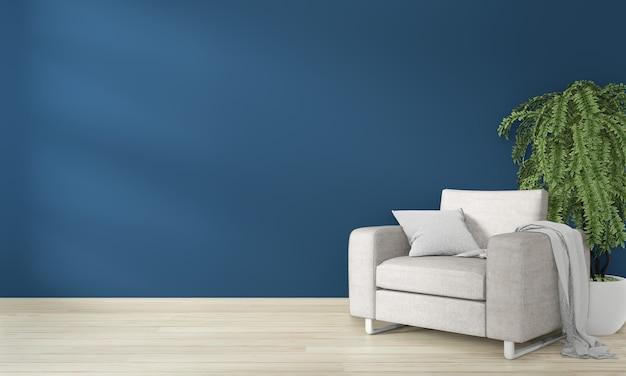Interno neutro con poltrona in velluto su sfondo blu scuro muro vuoto