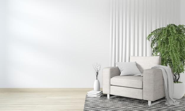 Interno neutro con poltrona in velluto su sfondo stanza vuota