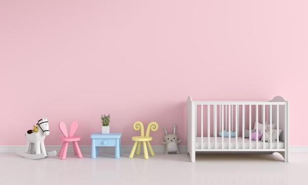 Interno rosa della stanza di bambini per il modello, rappresentazione 3d