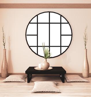 Interno sala zen, sala ryokan e decorazioni in legno, tonalità terra. rendering 3d