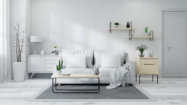 Interno scandinavo del salone, sofà grigio chiaro su stanza bianca, rappresentazione 3d