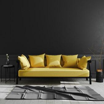 Interno scuro del salone con derisione gialla del sofà su, interno moderno di lusso del salone, parete nera, stile scandinavo, rappresentazione 3d