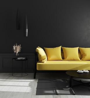 Interno scuro del soggiorno con parete nera e divano giallo brillante, interno del salone di lusso moderno, interno del salone, interno con pareti nere, rendering 3d