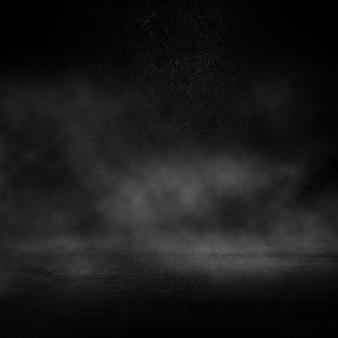 Interno scuro grunge con atmosfera fumosa