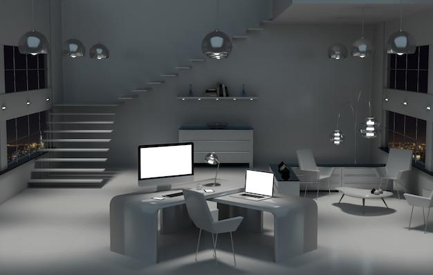Interno scuro moderno dell'ufficio dello scrittorio con la rappresentazione di 3d dei dispositivi e del computer