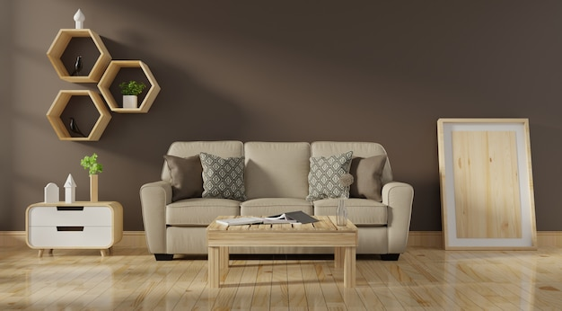 Interno soggiorno moderno con divano color corallo vivente e piante verdi