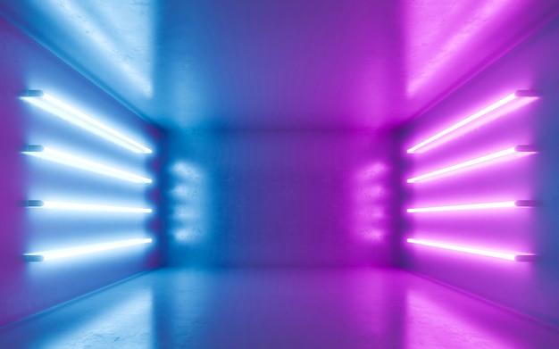 Interno stanza astratta per backgrtound con neon blu e viola