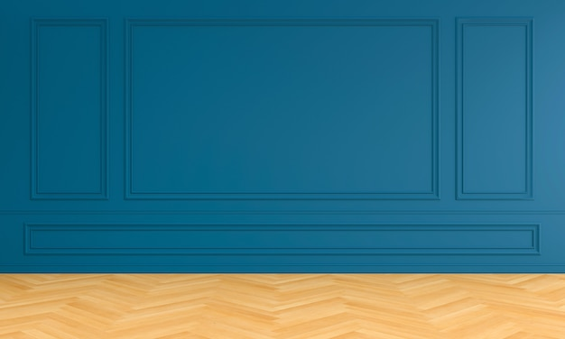 Interno stanza vuota blu con modanatura per mockup