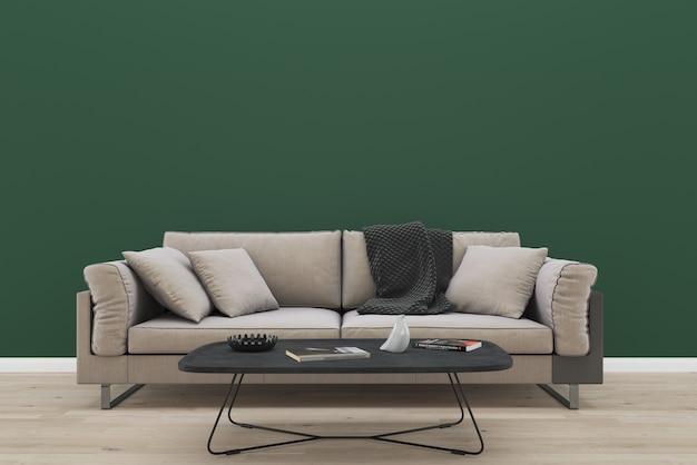 Interno verde del tessuto del sofà del tessuto marrone della parete verde