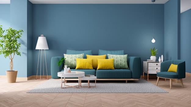 Interno vintage moderno del salotto, concetto di arredamento casa blueprint, divano verde con tavolo in marmo sulla parete blu e pavimenti in legno, rendering 3d