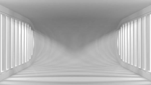 Interno vuoto concettuale ultra moderno con i raggi luminosi dalle finestre per i vostri oggetti.