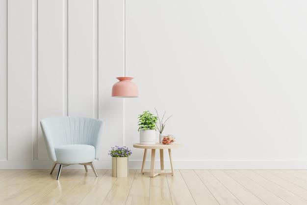 Interno vuoto della stanza con la poltrona e il tavolino in un interno minimalista del salone.