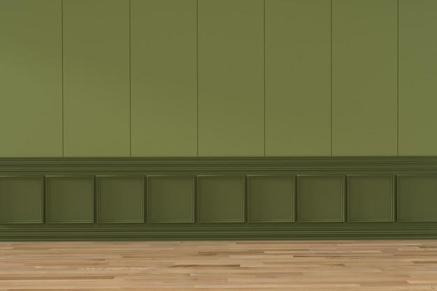 Interno vuoto di progettazione della stanza verde nella rappresentazione 3d