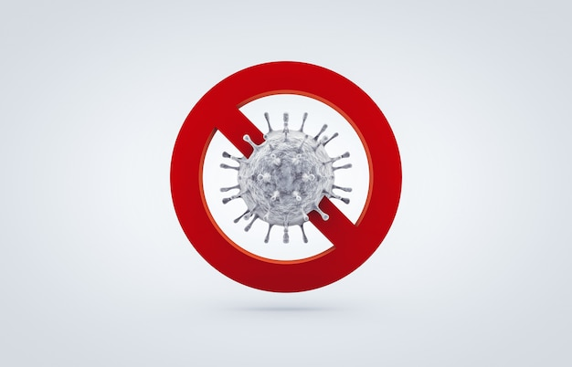 Interrompere il segno dell'icona di coronavirus. la lotta contro il coronavirus. nessuna infezione e arresto dei concetti di coronavirus. 3d isolato