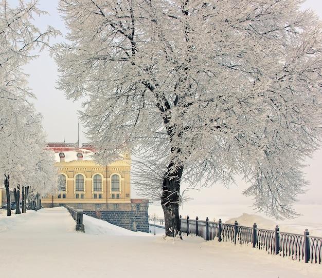 Inverno, città di rybinsk, volga river, proprietà commemorativa.