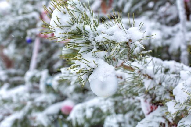 Inverno, nevica. decorazioni festive appese sui rami di un albero di natale, coperte di neve. albero di natale decorato sulla strada nel pomeriggio.
