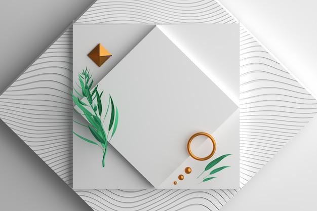 Invito quadrato con fogliame decorativo ed elementi in oro
